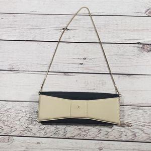 Kate Spade womens tan black clutch purse chain